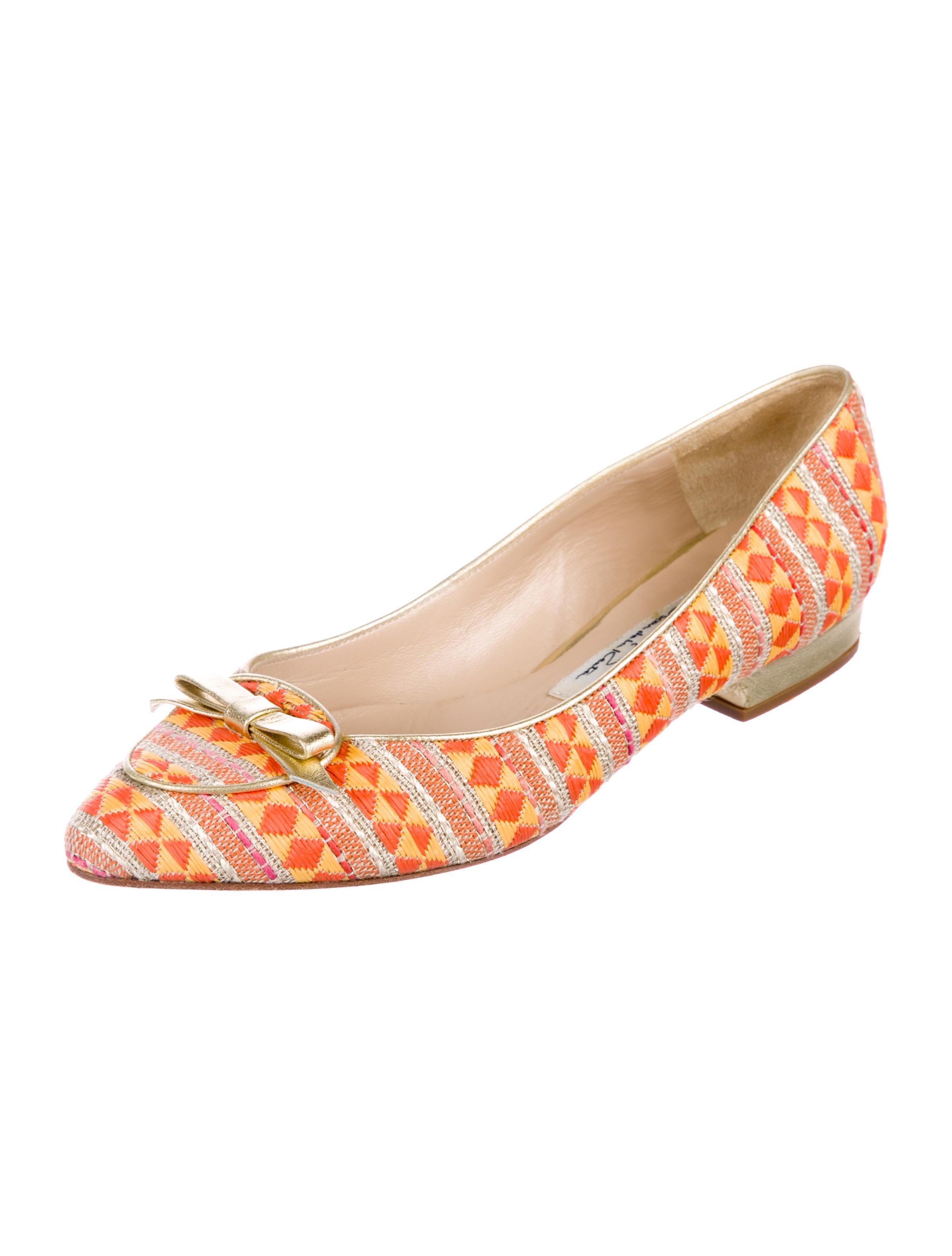 Oscar de la Renta Raffia Pointed-Toe Flats online cheap price 6l4D0JPGF