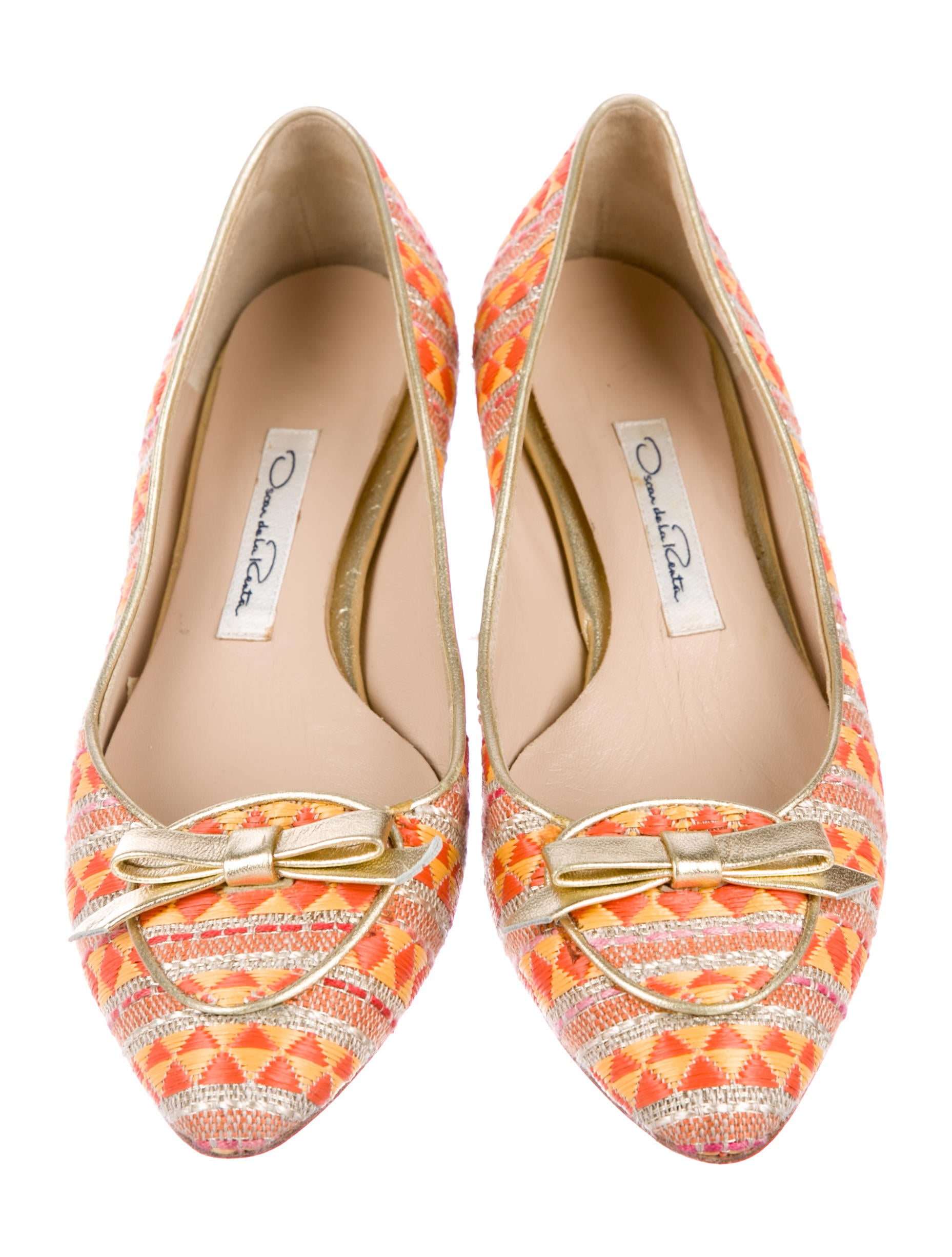 Oscar de la Renta Raffia Pointed-Toe Flats buy cheap footlocker finishline discount original IuKq52MK