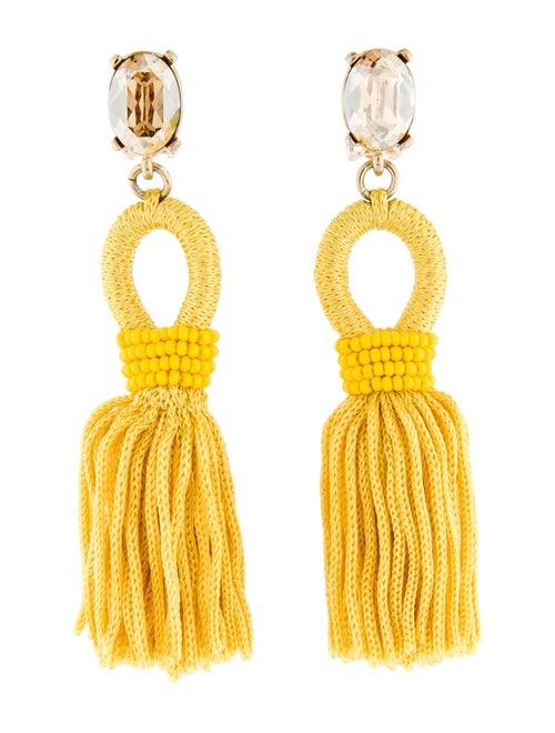 Oscar de la Renta Silk Tassel Clip-On Earrings Gol