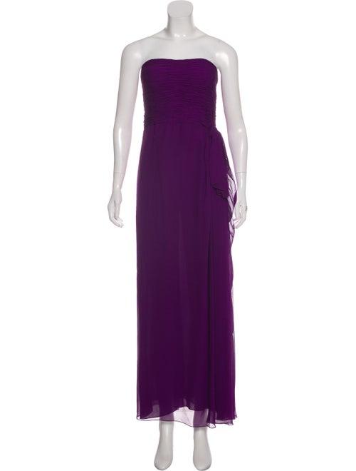 Oscar de la Renta Strapless Maxi Dress Purple