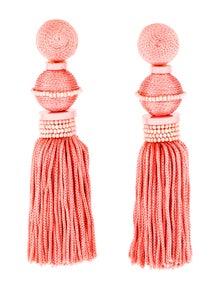 a04e1c1c06185 Oscar de la Renta. Threaded Ball   Tassel Drop Earrings