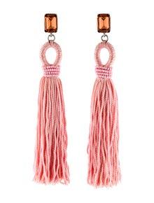 232f5e0a86691 Oscar de la Renta. Long Crystal Loop Tassel Clip-On Earrings