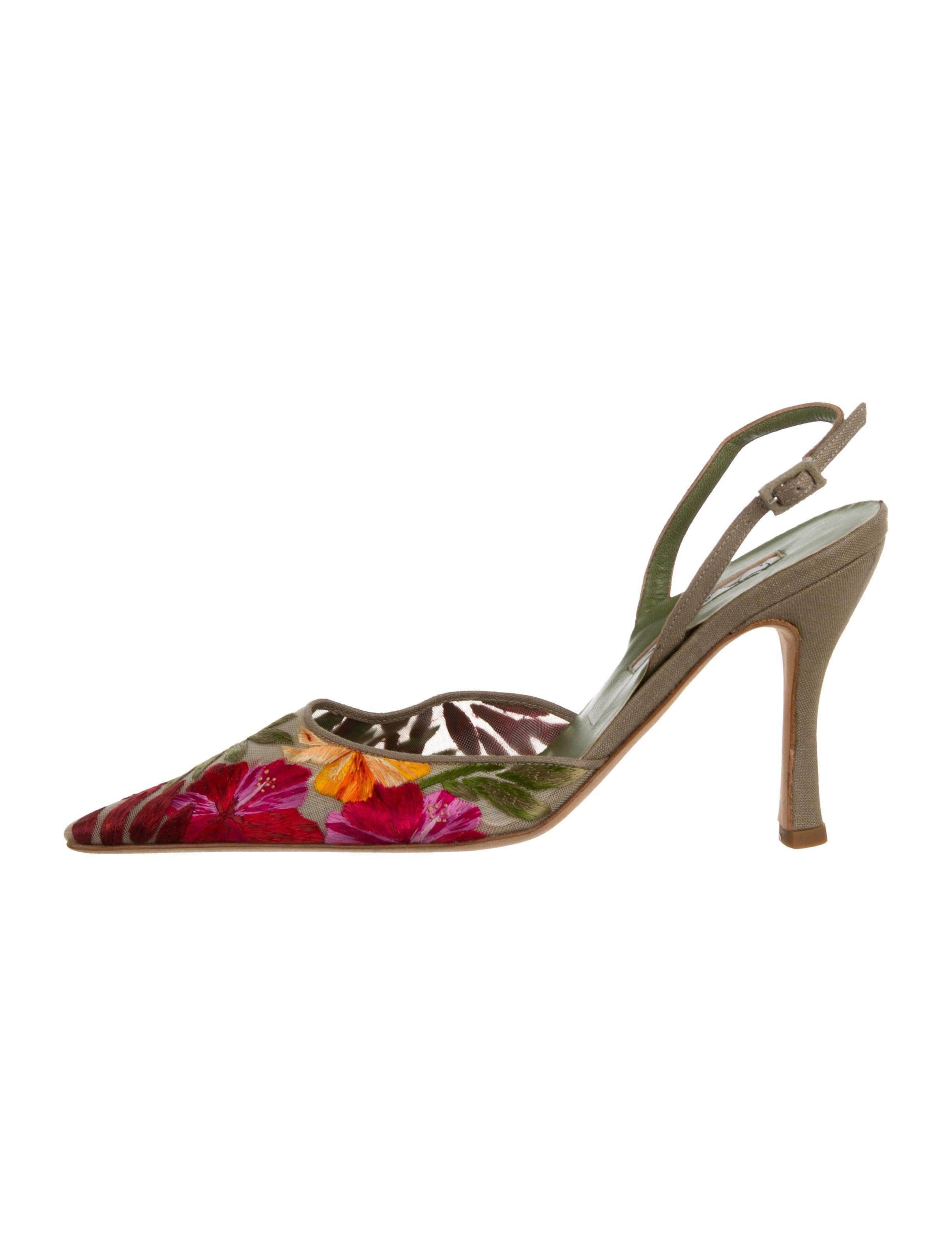 d5a541710ee5 Oscar de la Renta Embroidered Slingback Pumps - Shoes - OSC89401 ...