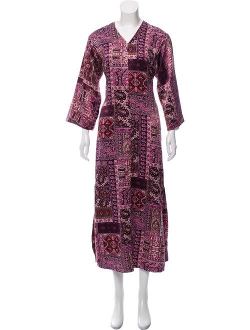 Oscar de la Renta Printed Maxi Dress Pink