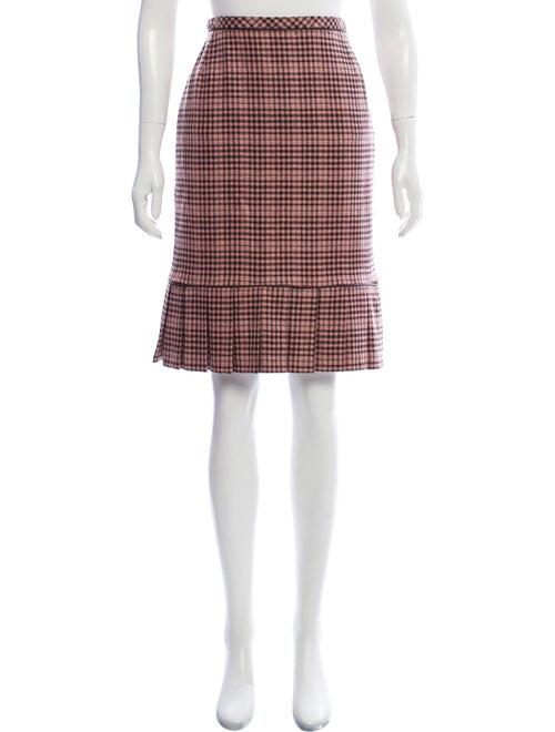 Oscar de la Renta Cashmere Gingham Skirt pink