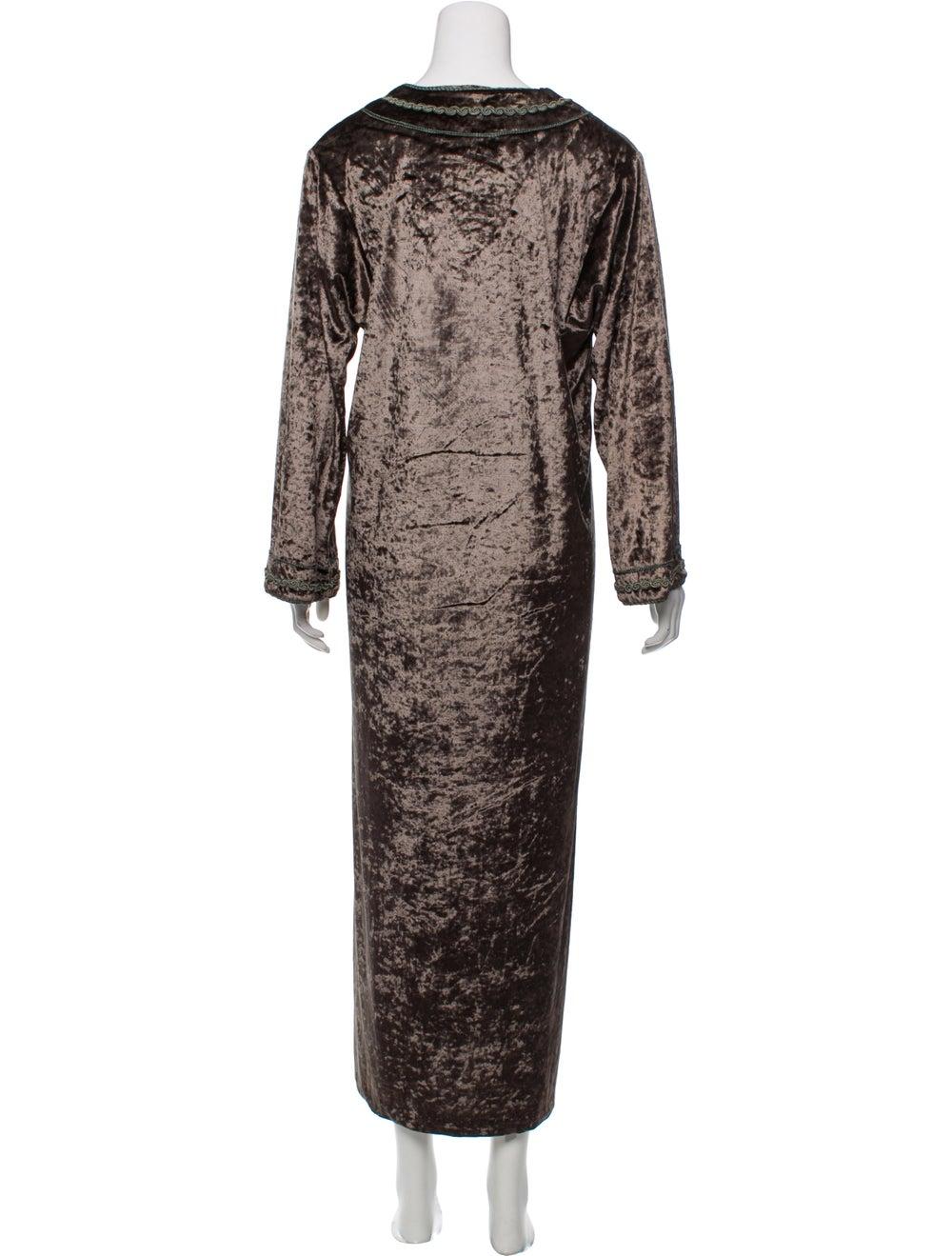 Oscar de la Renta Velvet Maxi Dress Green - image 3