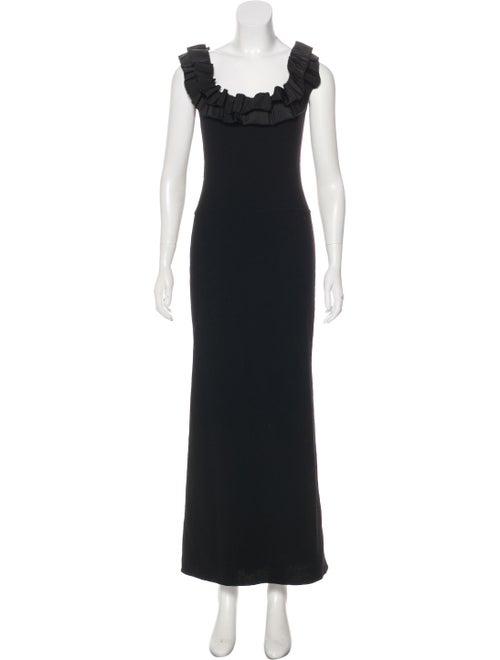 Oscar de la Renta Wool Maxi Dress Black - image 1