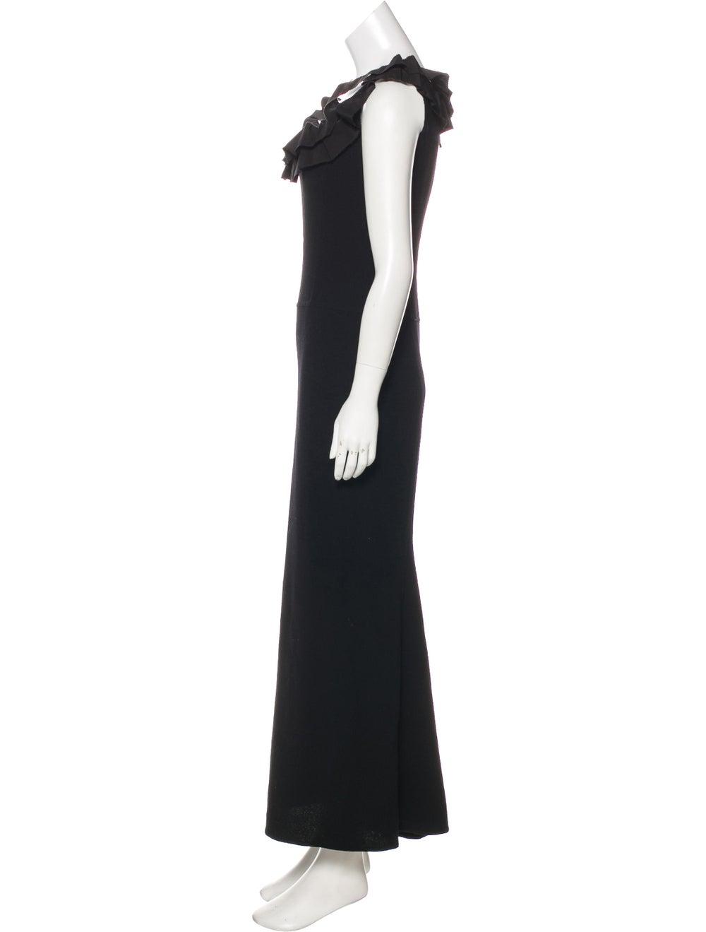 Oscar de la Renta Wool Maxi Dress Black - image 2
