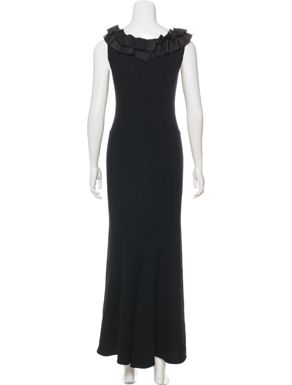 Oscar de la Renta Wool Maxi Dress Black - image 3