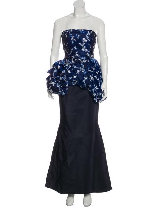 Oscar de la Renta Strapless Maxi Dress Blue