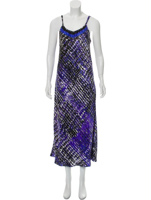 Oscar de la Renta Printed Maxi Slip Dress Purple