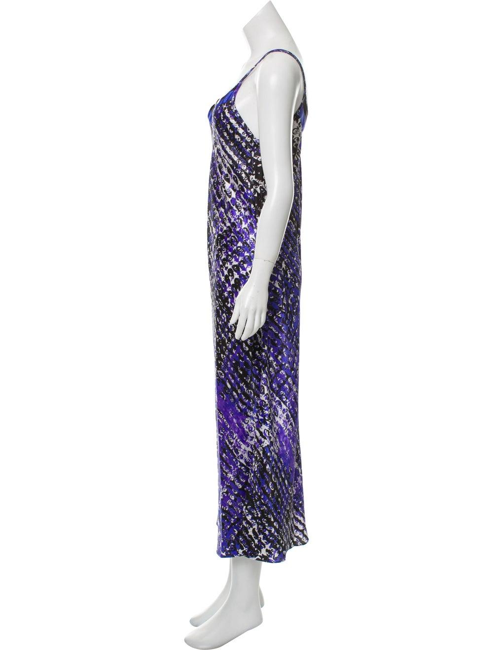 Oscar de la Renta Printed Maxi Slip Dress Purple - image 2