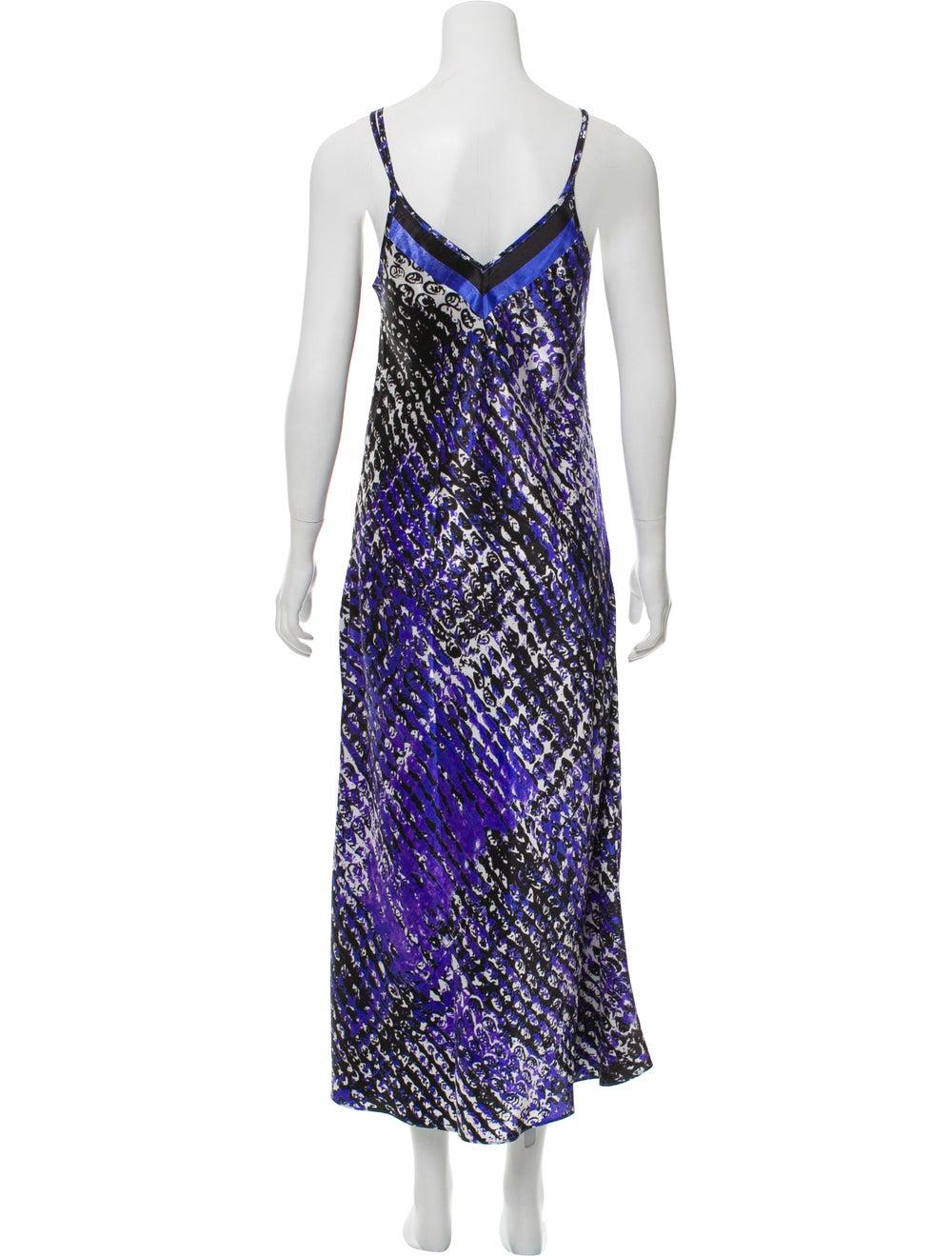 Oscar de la Renta Printed Maxi Slip Dress Purple - image 3