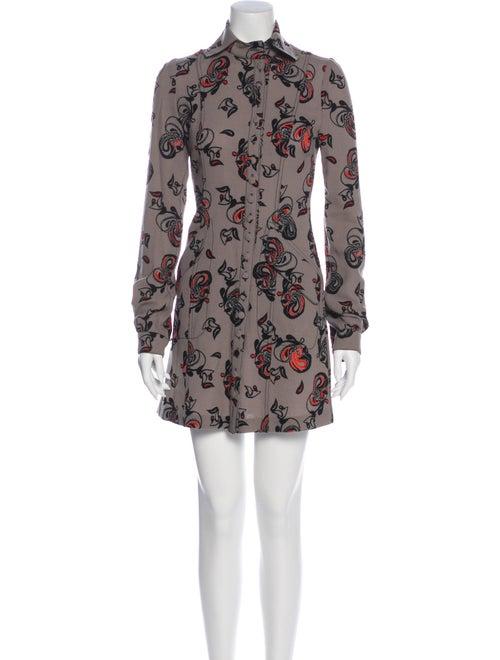 Ossie Clark Virgin Wool Mini Dress Wool