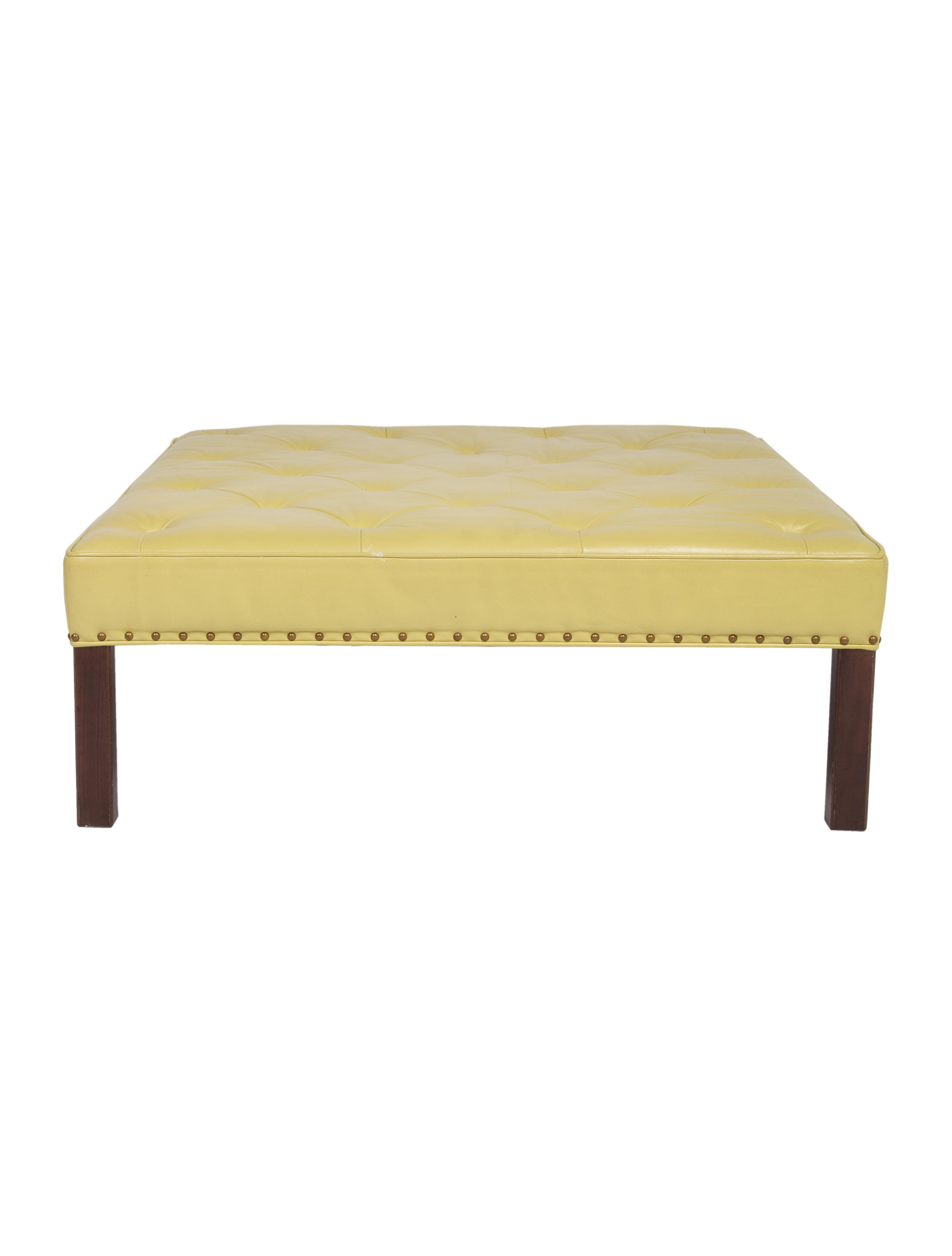 Hickory Chair Co Leather Cocktail Ottoman Furniture