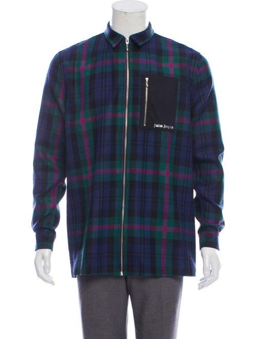 Palm Angels Wool Shirt Jacket navy