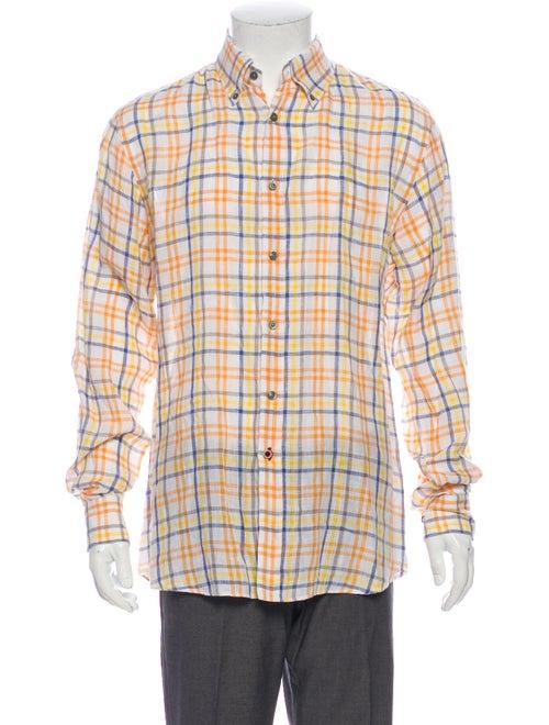 Pal Zileri Linen Plaid Print Dress Shirt Yellow