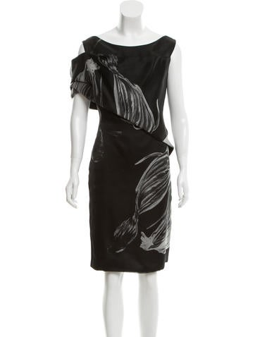 Pamella Roland Satin Abstract Print Dress
