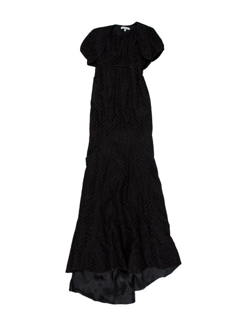 Pamella Roland Embroidered Eyelet Gown Black