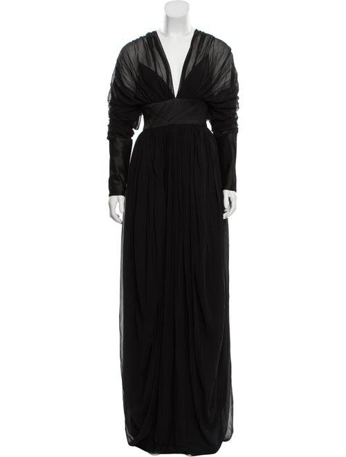 Pamella Roland Long Sleeve Maxi Dress Black