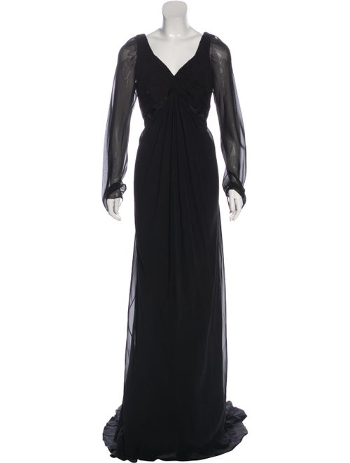 Pamella Roland Long Sleeve Evening Dress Black
