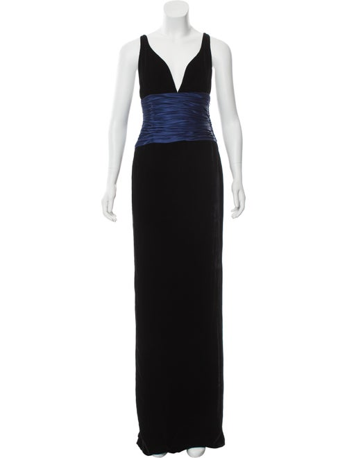 Pamella Roland Velvet Evening Gown Black