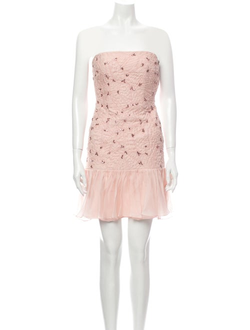 Pamella Roland Strapless Mini Dress Pink