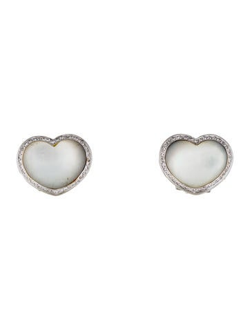 Pasquale Bruni 18K Mother of Pearl & Diamond Heart Earclips None