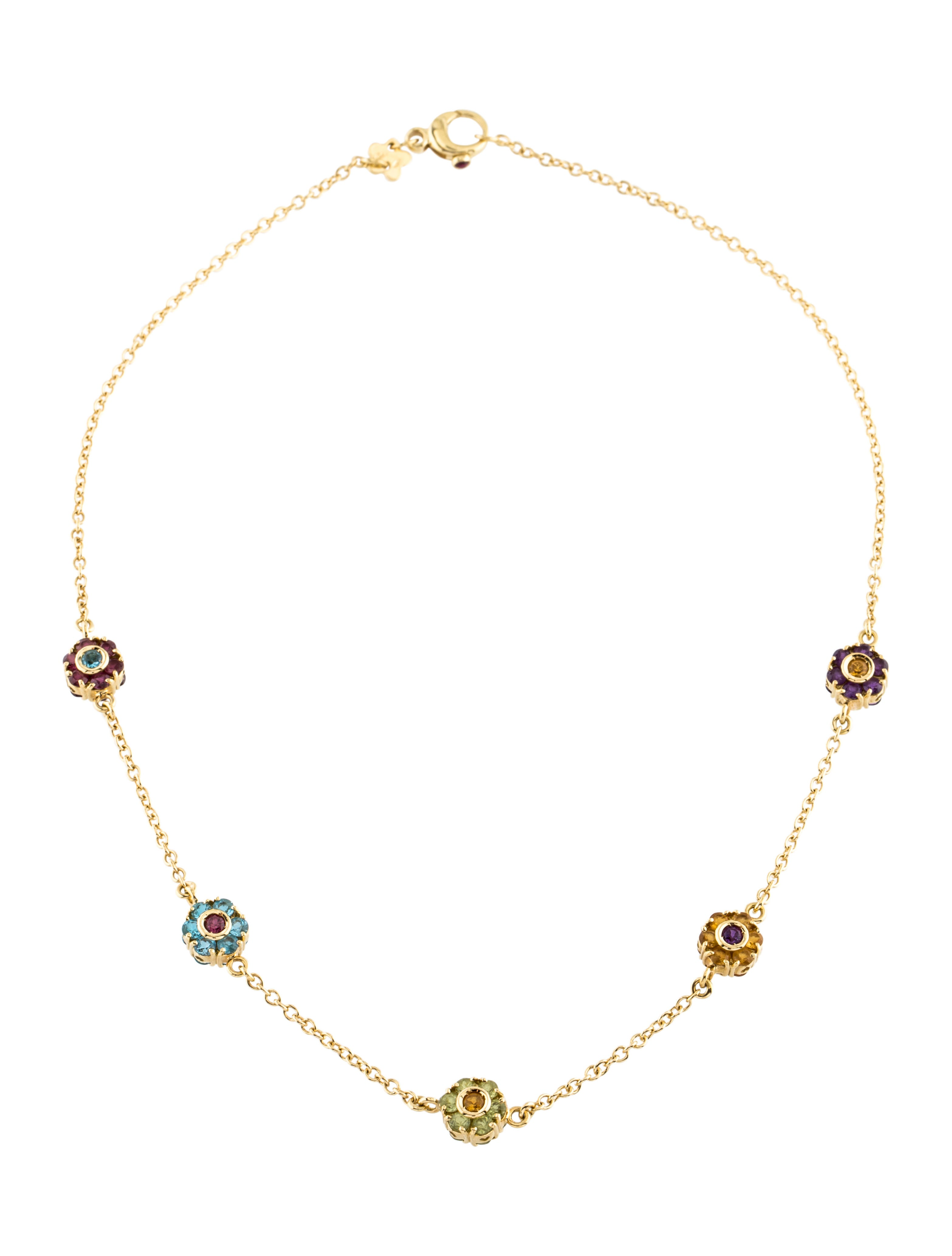 Pasquale Bruni 18K Multistone Floral Station Necklace ...