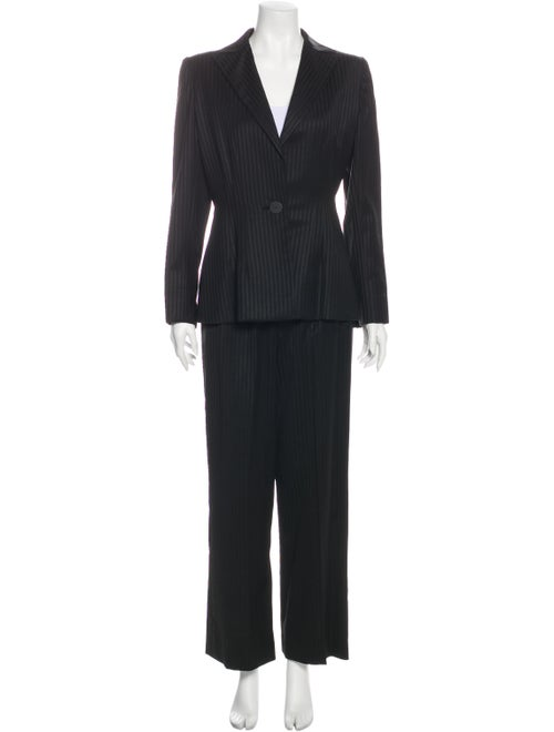 Pauline Trigere Striped Pantsuit Black