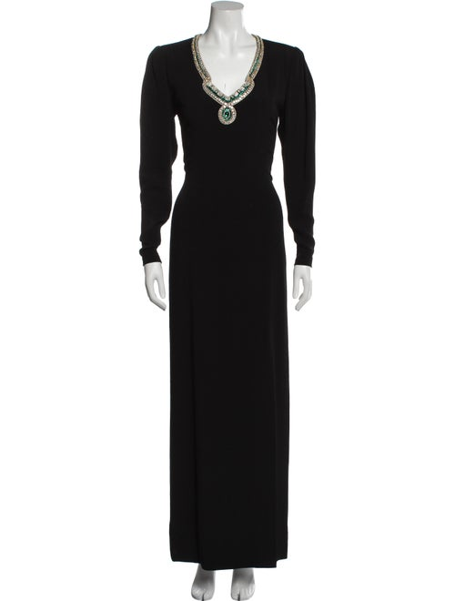 Pauline Trigere Vintage Long Dress Black - image 1