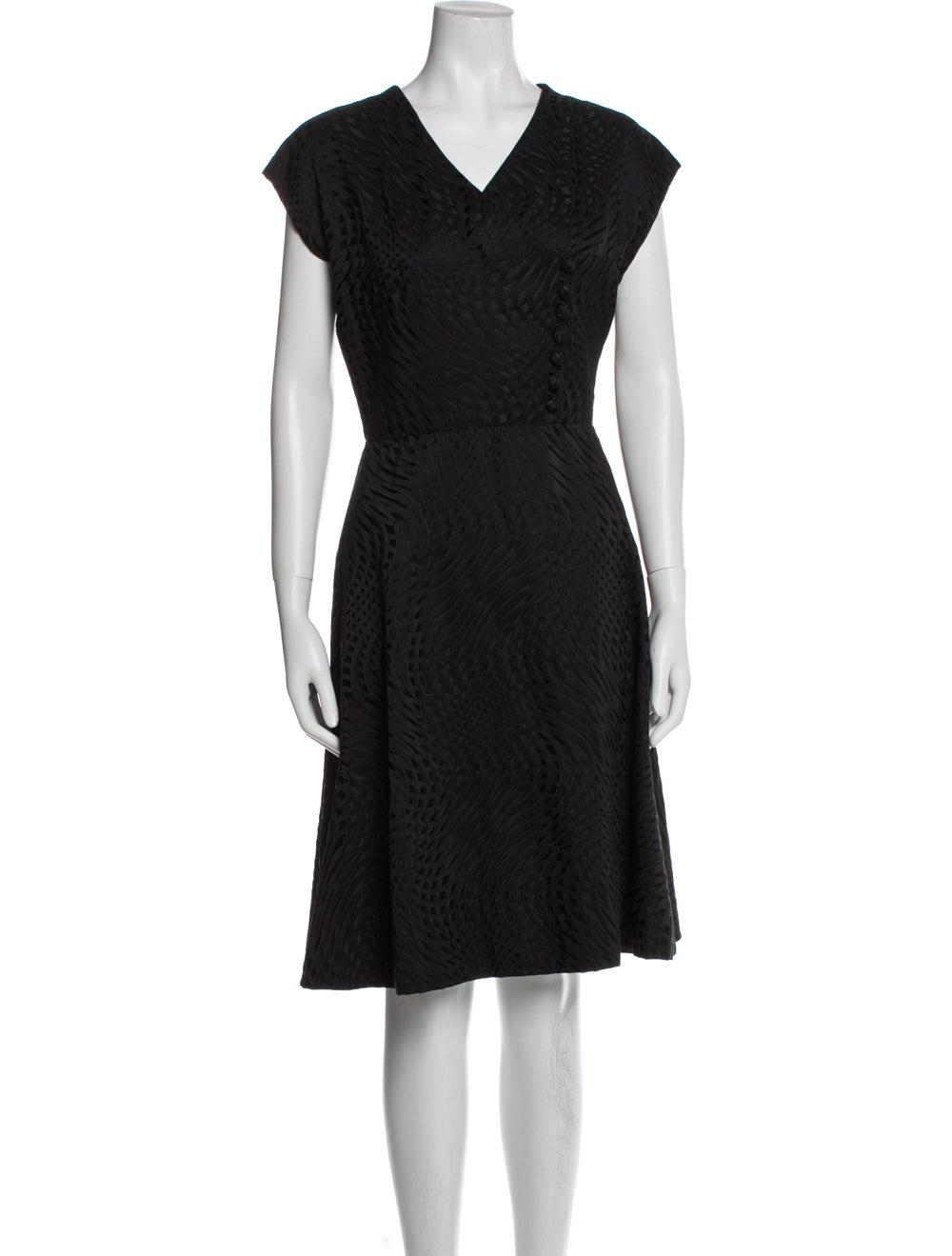 Pauline Trigere V-Neck Knee-Length Dress Black - image 1