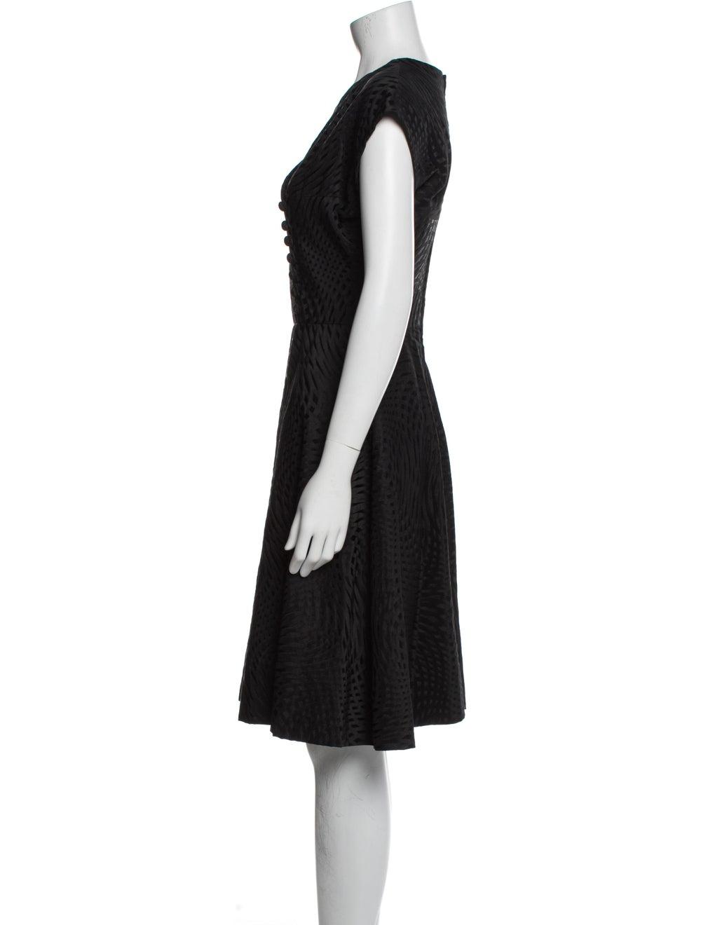 Pauline Trigere V-Neck Knee-Length Dress Black - image 2
