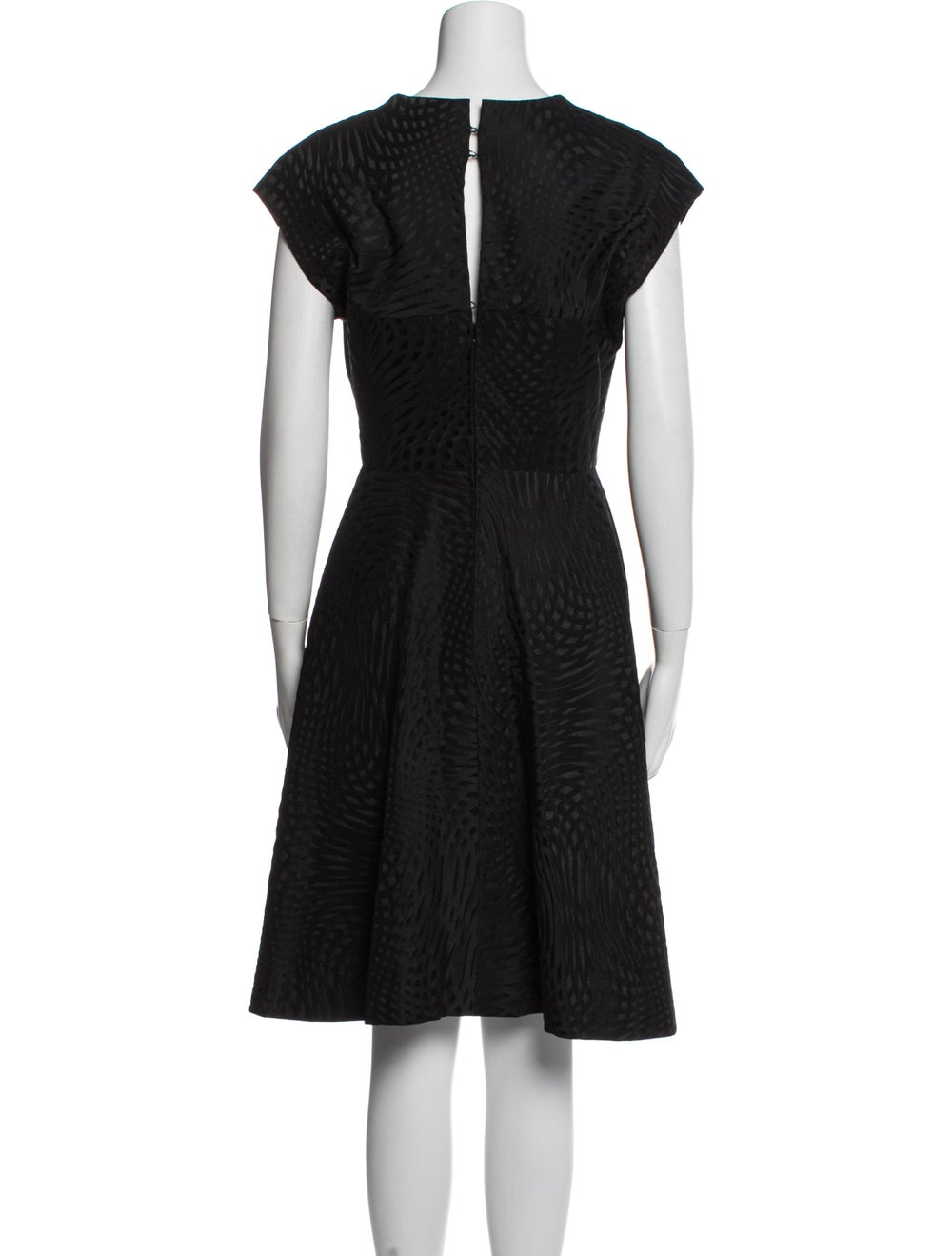 Pauline Trigere V-Neck Knee-Length Dress Black - image 3