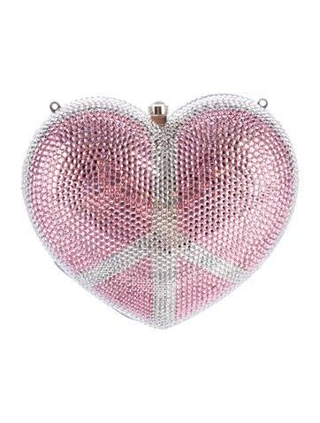 Crystal-Embellished Heart Clutch