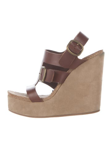 Pedro Garcia Leather-Suede Wedge Sandals None