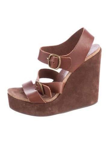 Pedro Garcia Leather Wedge Sandals None