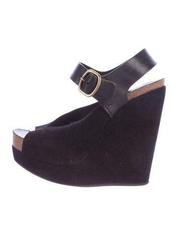 Pedro Garcia Suede Ankle Strap Wedges None