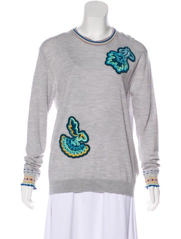 Peter Pilotto Embroidered Wool Sweater w/ Tags None