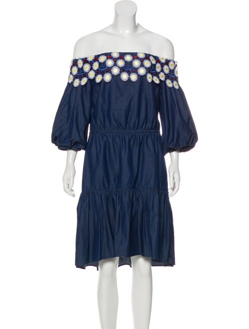 Peter Pilotto Chambray Lace-Trimmed Dress Navy