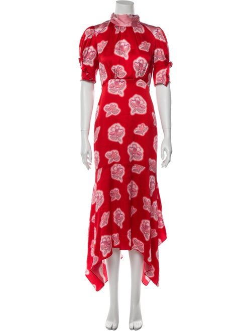 Peter Pilotto Floral Print Midi Length Dress Red