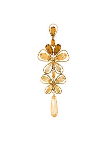 18K Citrine, Quartz & Diamond Floral Pendant