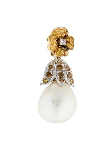 18K Pearl & Diamond Floral Pendant