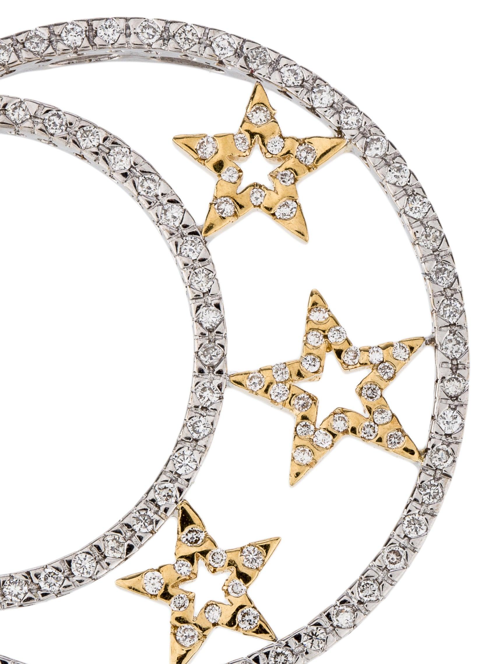 18K Diamond Moon & Star Pendant - Necklaces - PENDA22140 ...
