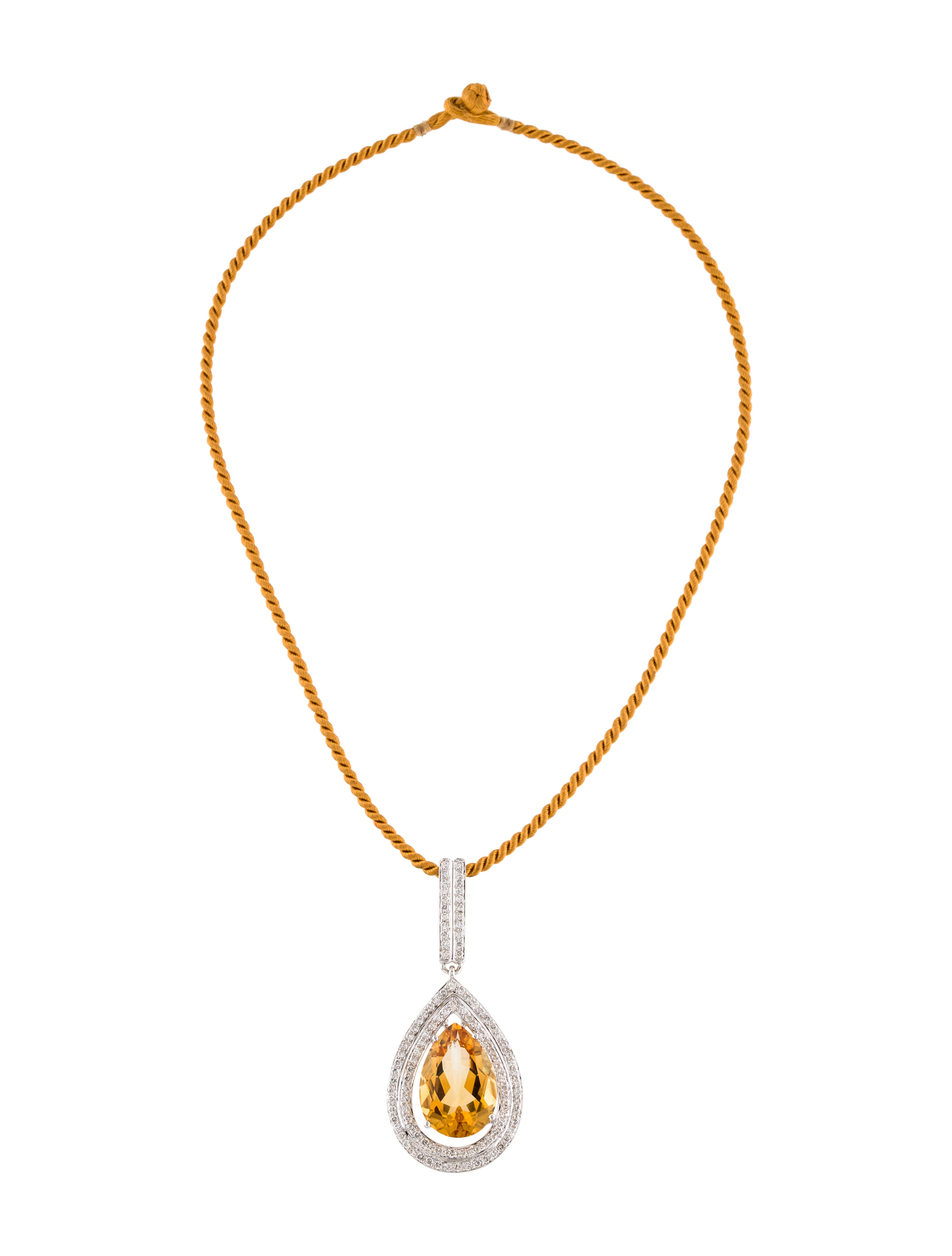18k citrine amp diamond drop pendant necklace necklaces