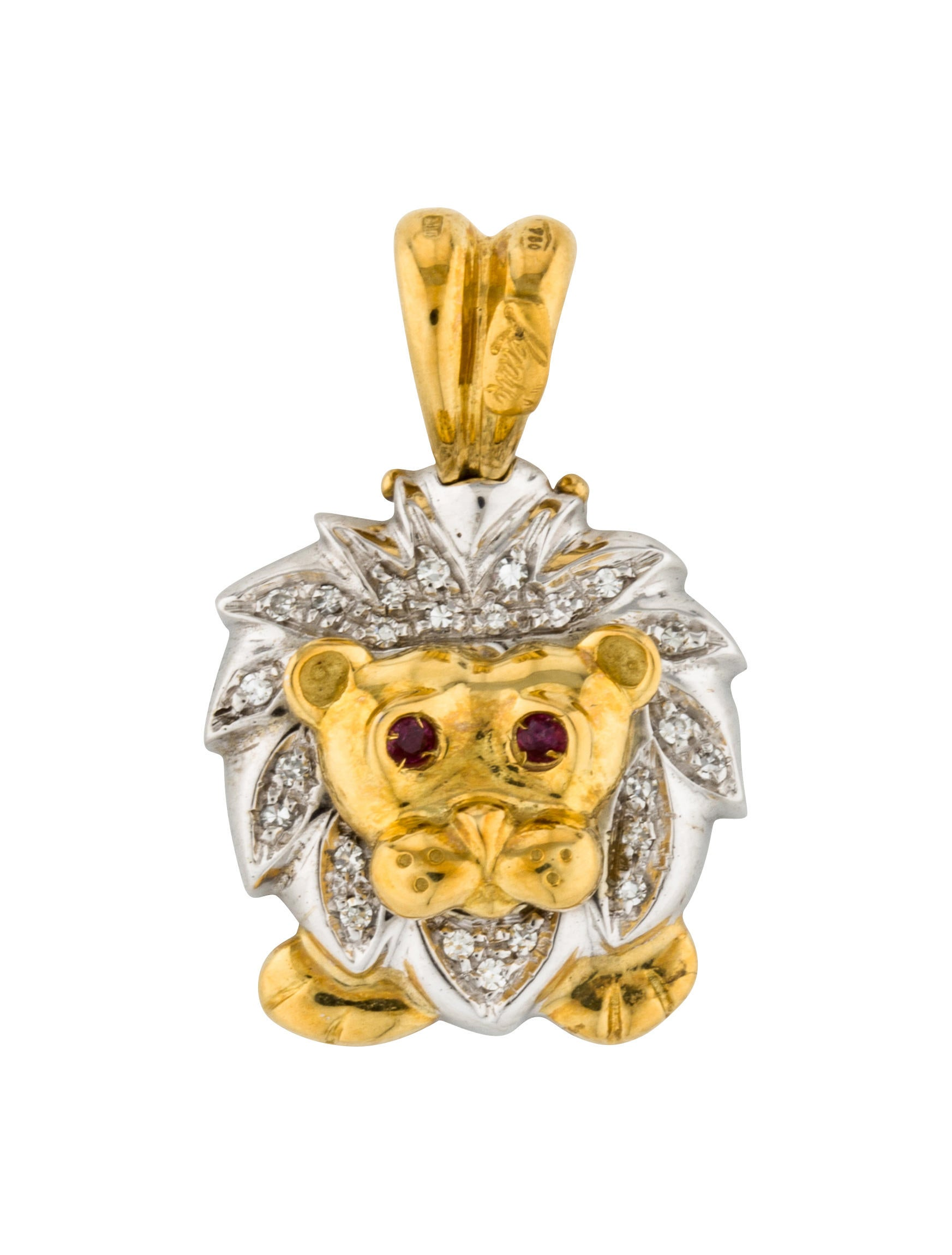 itm hop hip pendant head necklace steel rhinestone gold lion men stainless