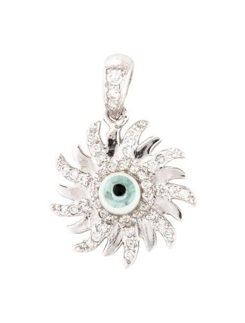 14K Diamond Evil Eye Pendant white