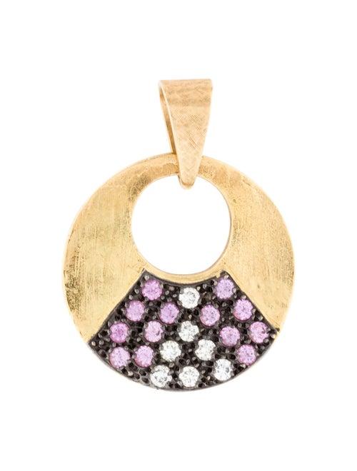 18K Pink Sapphire & Diamond Pendant yellow