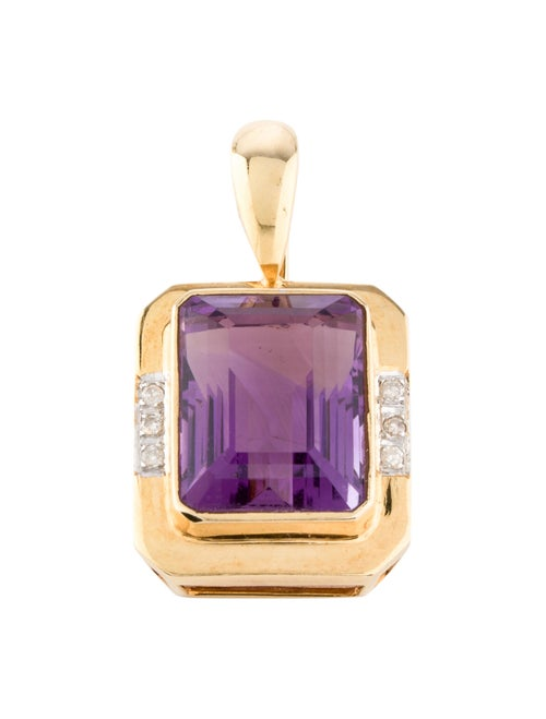 14K 13.46ct Amethyst & Diamond Pendant yellow