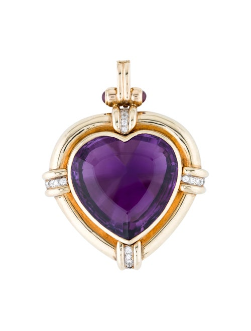 14K Ruby & Amethyst Heart Pendant yellow